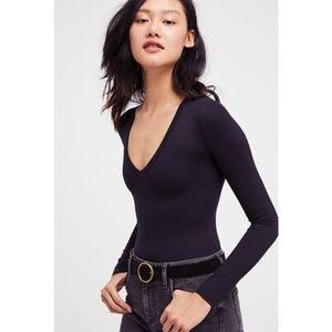 FREE PEOPLE Super Soft Deep V Long Sleeve Bodysuit